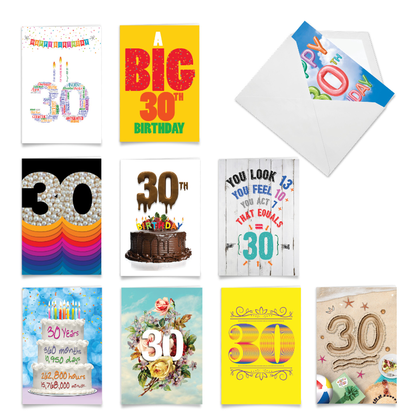 Hooray for 30!: Funny Milestone Birthday Assorted Set of 10 Cards