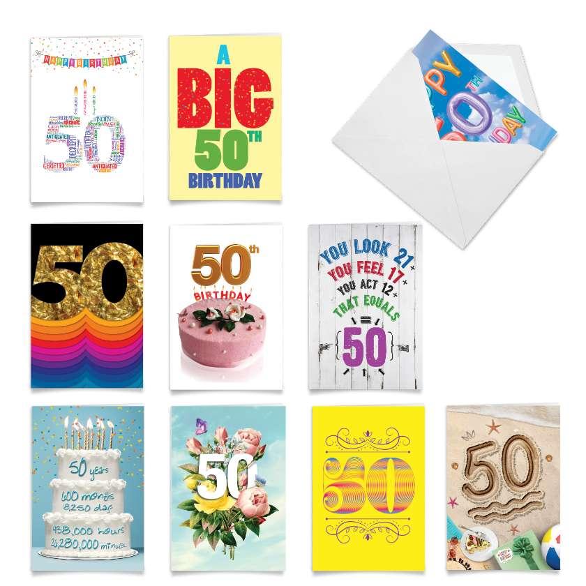 Hooray for 50!: Humorous Milestone Birthday Assortment of 10 Cards