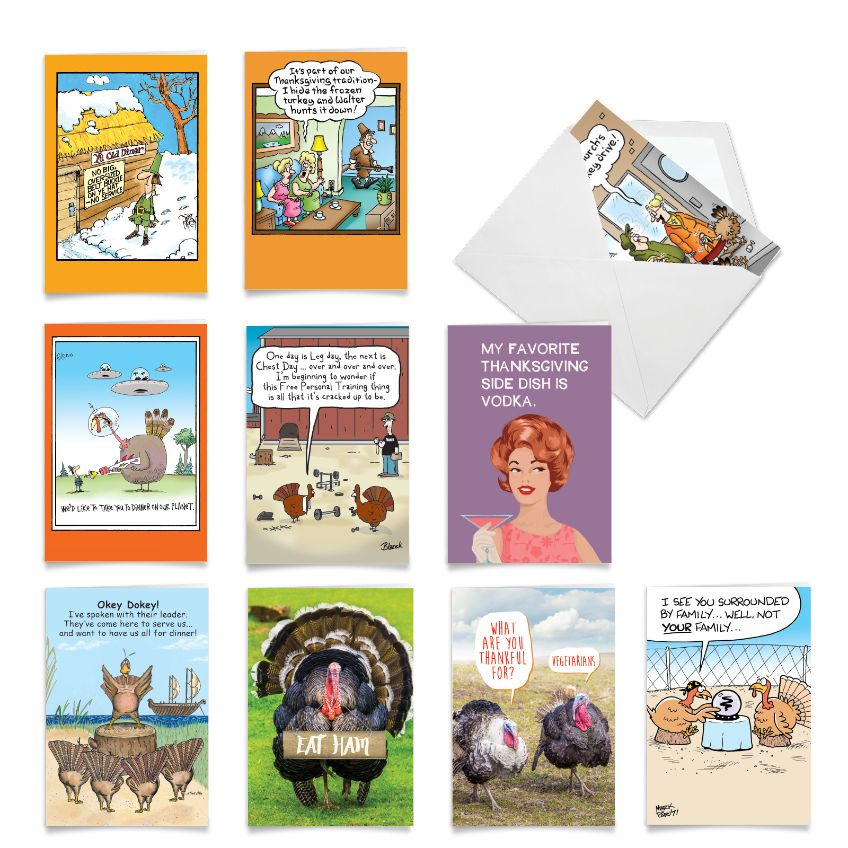 Turkey Time: Funny Thanksgiving Assortment of 10 Cards