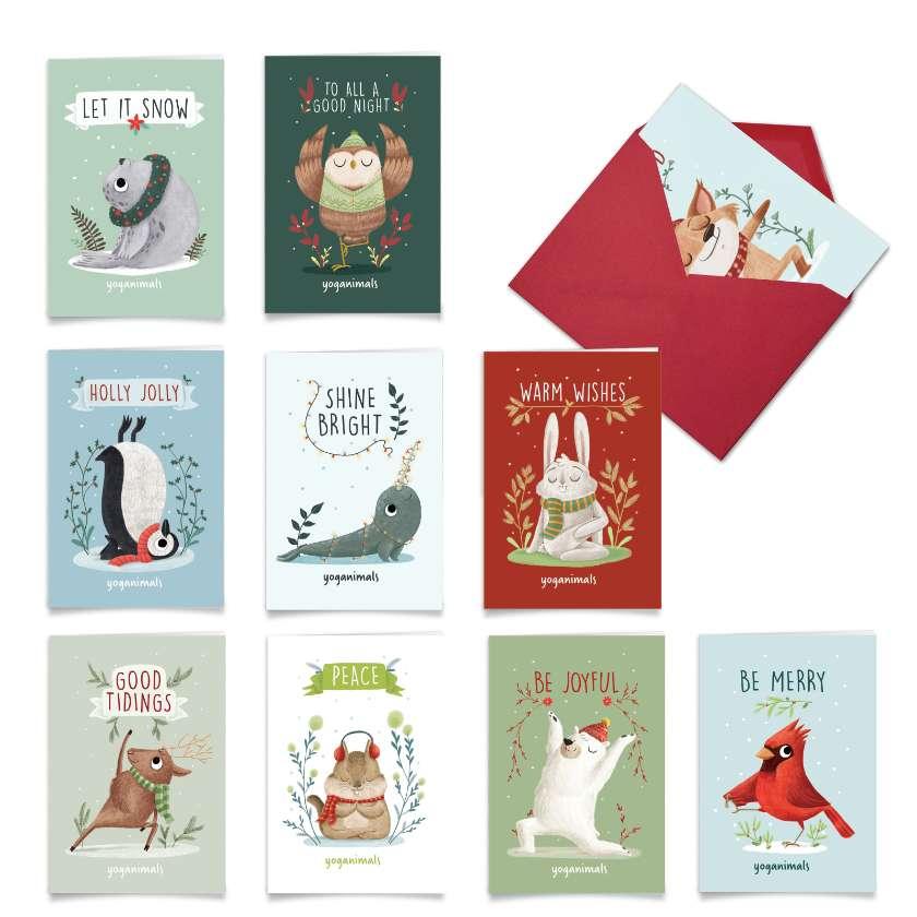 Holiday Yoganimals: Humorous Merry Christmas Mixed Set of 10 Cards