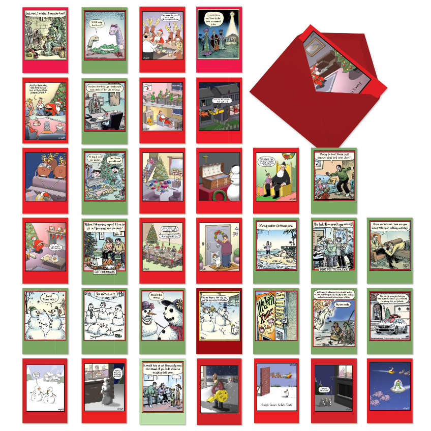 Double The Holiday Fun: Funny Merry Christmas Assorted Set of 36 Cards