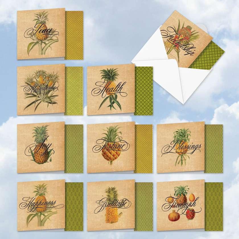 Pineapple Plenty: Creative Blank Mixed Set of 10 Cards