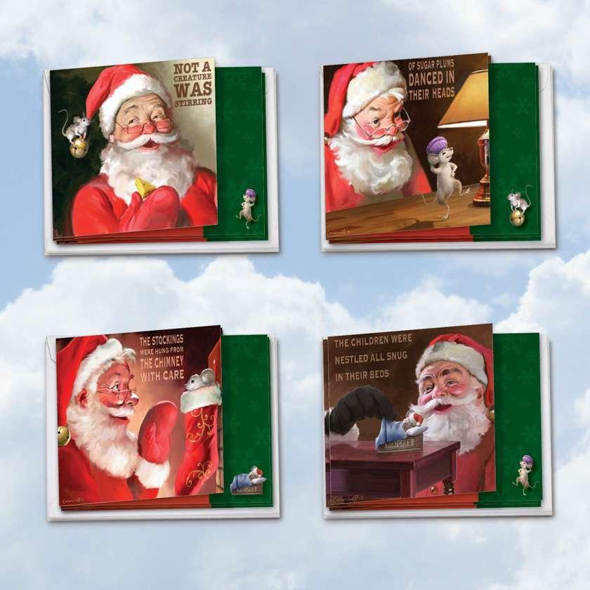 Santa Mouse: Stylish Christmas Mixed Set of 12 Cards