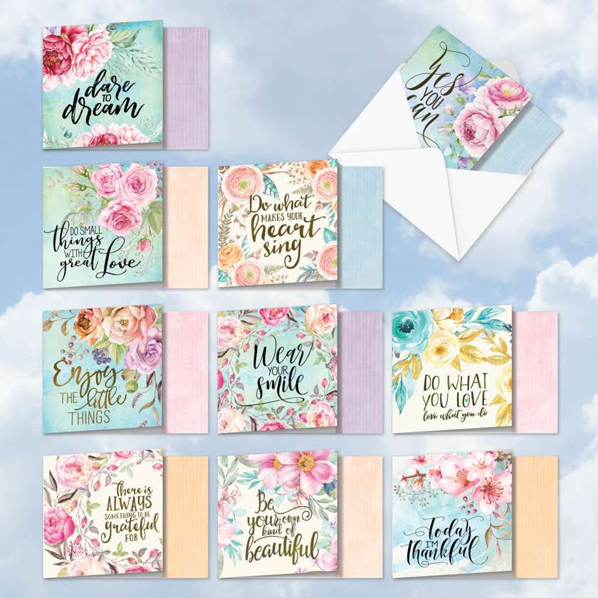 Words Of Encouragement: Creative Friendship Assorted Set of 10 Cards
