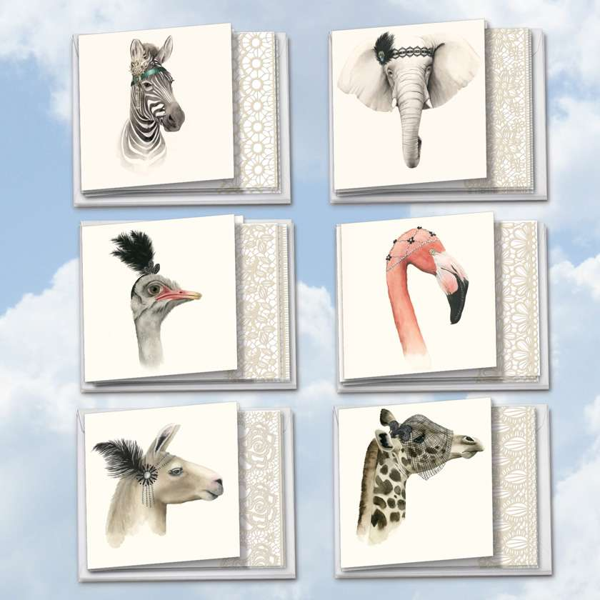 Wildlife Glamour: Creative Blank Assortment of 12 Cards