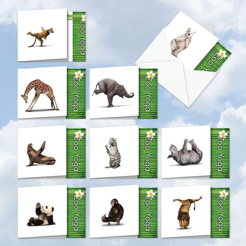 Zoo Yoga: Creative Blank Mixed Set of 10 Cards