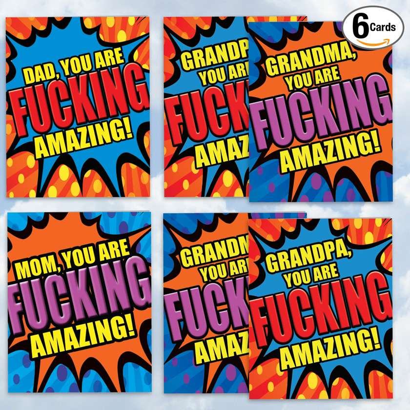 Amazing Family Pack for Mom, Dad, and Grandparents: Hysterical Mother's Day and Father's Day Giant Assorted Set of 6 Cards