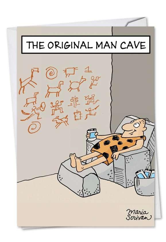 Original Man Cave: Funny Birthday Printed Greeting Card