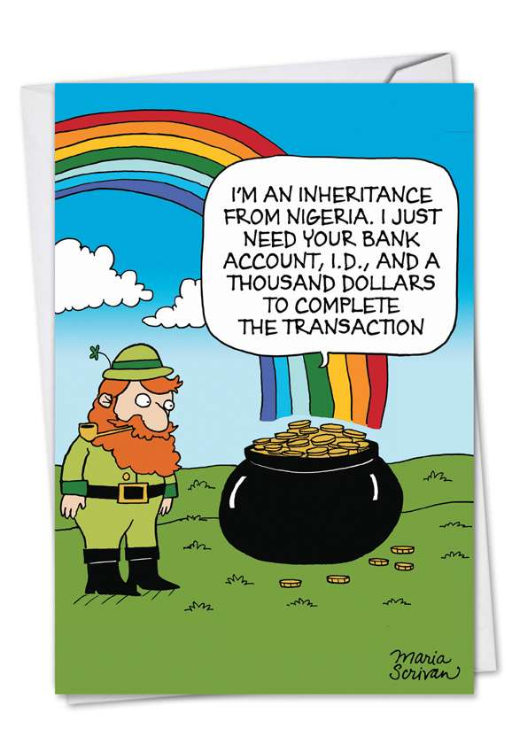 Scam Pot O Gold: Hysterical St. Patrick's Day Printed Greeting Card