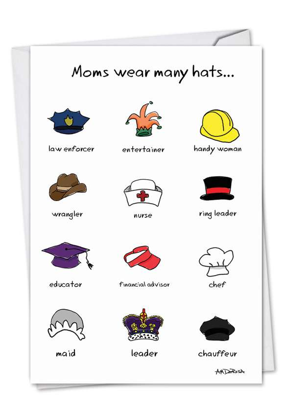 Many Hats: Hilarious Birthday Mother Greeting Card