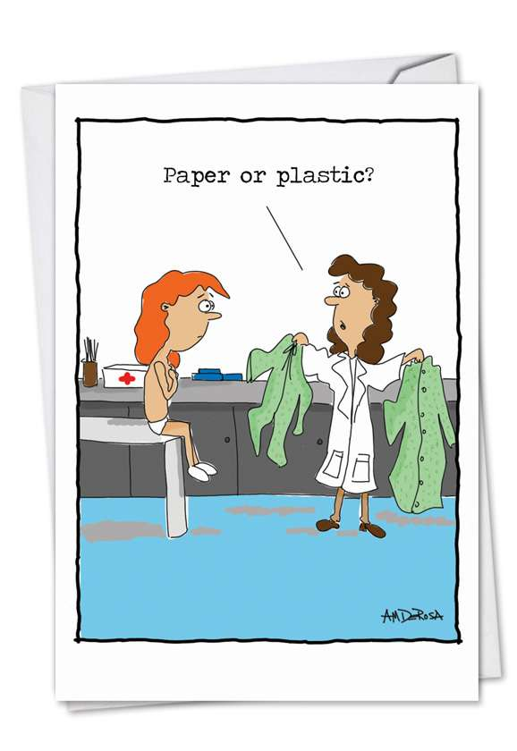 Paper or Plastic: Hilarious Get Well Paper Greeting Card