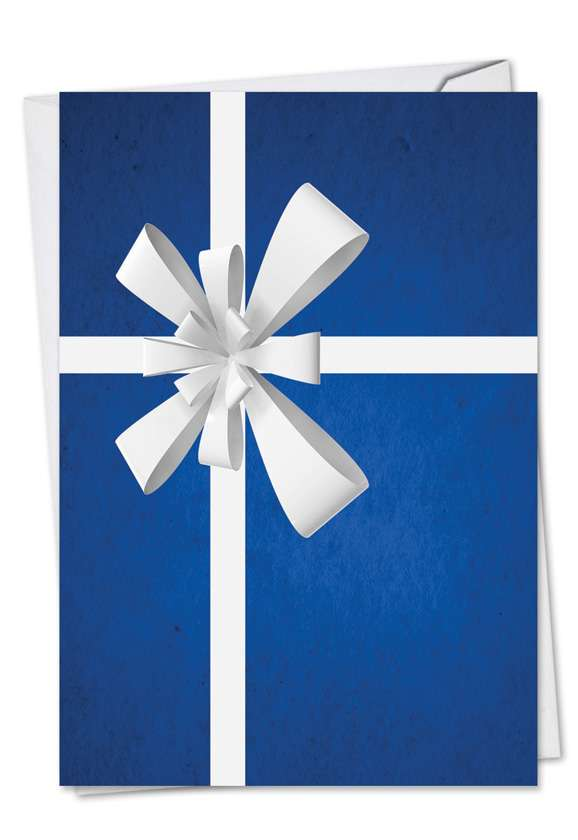 Beribboned In Blue: Stylish Christmas Thank You Printed Card