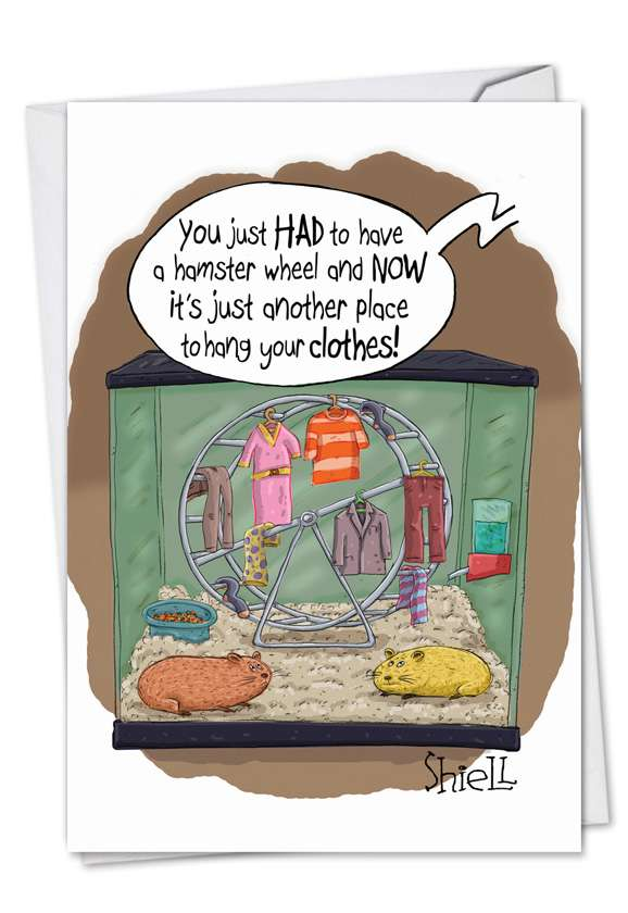 Hamster Wheel: Funny Birthday Printed Greeting Card