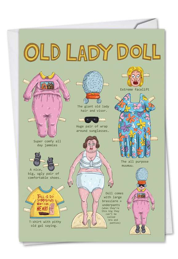 Old Lady Doll: Hilarious Birthday Paper Card