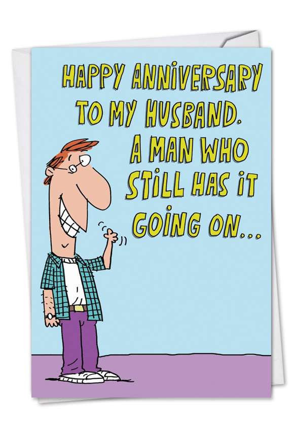 Still Going On: Humorous Anniversary Printed Greeting Card