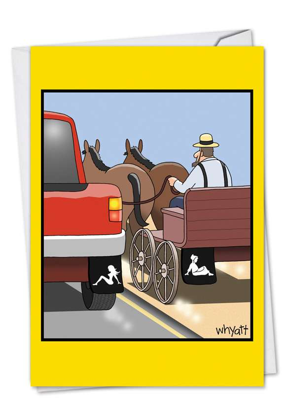 Amish Mudflap: Humorous Birthday Paper Greeting Card