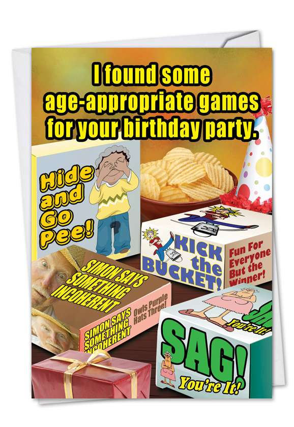 Age-Appropriate Games: Hysterical Birthday Paper Card