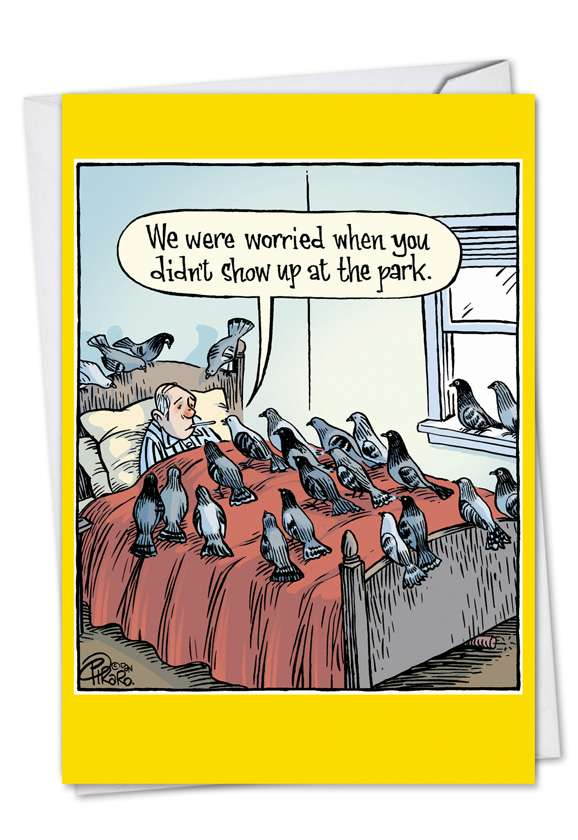 Worried Pigeons: Funny Get Well Paper Card