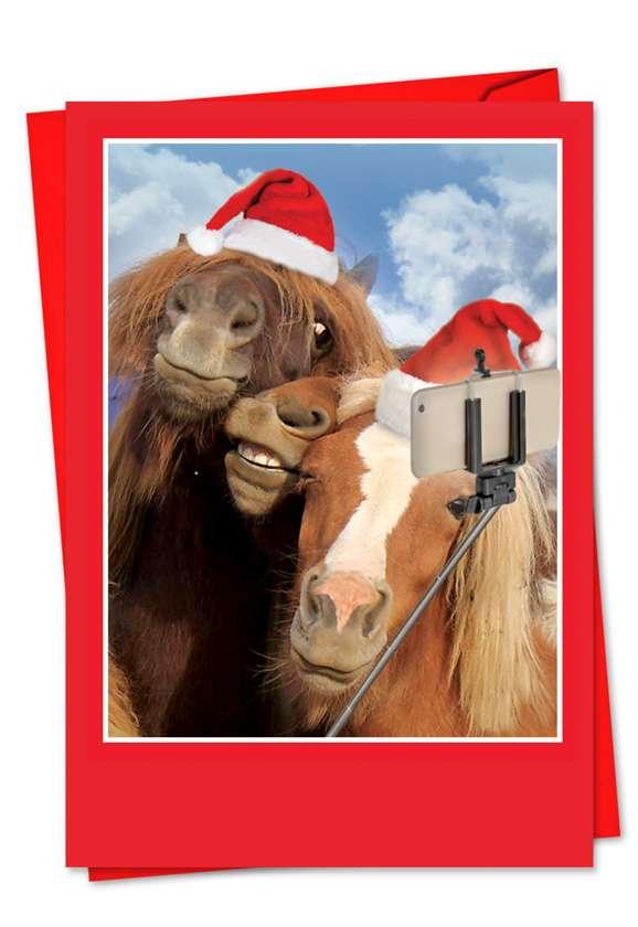 Holiday Animal Selfie: Stylish Christmas Paper Greeting Card