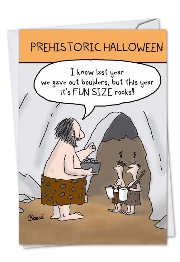 Prehistoric Halloween: Hilarious Halloween Printed Greeting Card