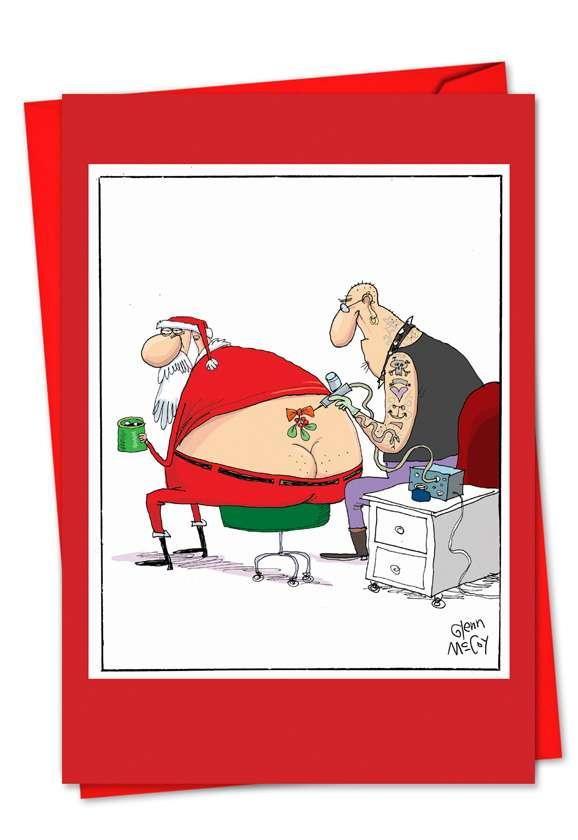Santa Tattoo: Hysterical Christmas Paper Card