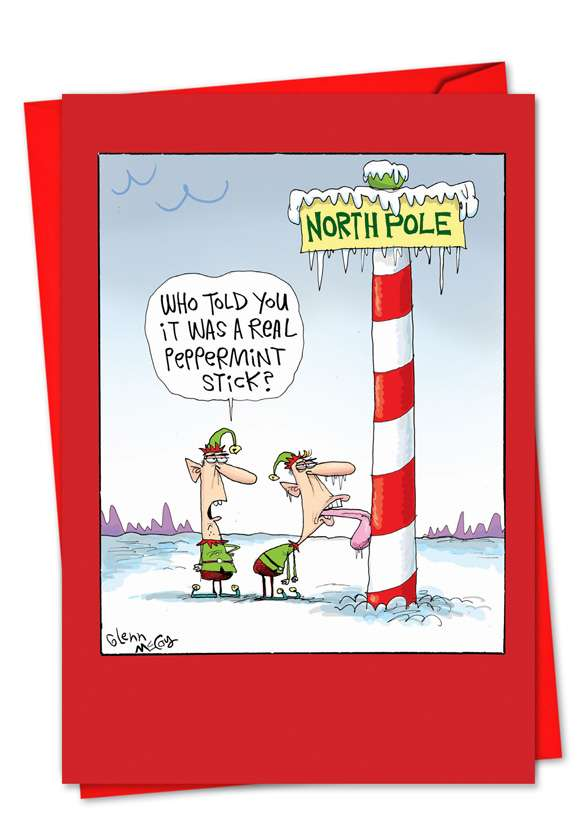 Frozen Tongue: Hysterical Christmas Printed Greeting Card