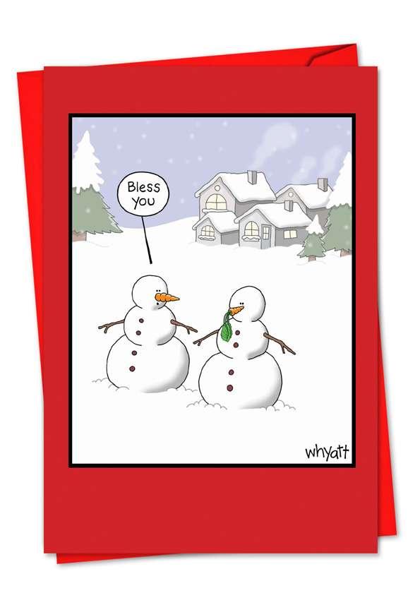 Snowman Sneeze: Humorous Christmas Printed Greeting Card