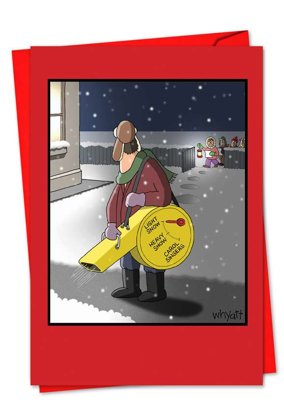 Snow Blower Settings: Funny Christmas Greeting Card