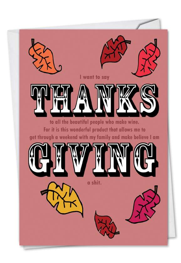 Thanks Giving: Humorous Thanksgiving Printed Card