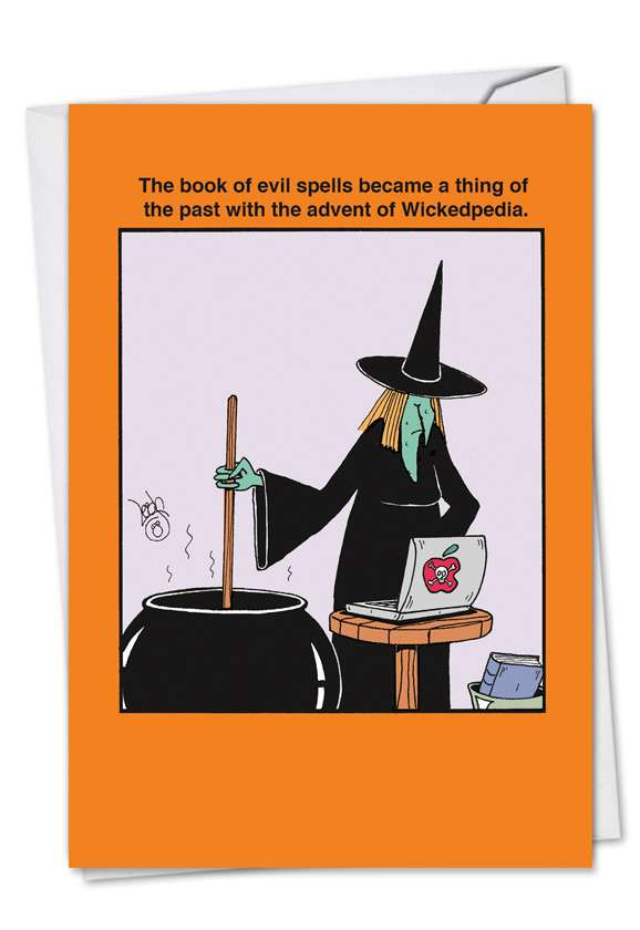Book of Evil Spells: Funny Halloween Printed Greeting Card