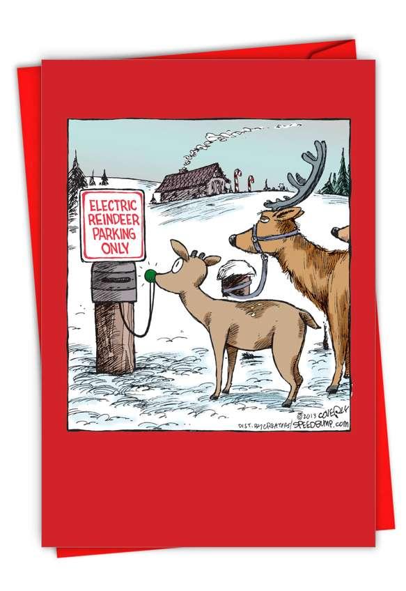 Electric Reindeer Parking: Humorous Christmas Paper Card