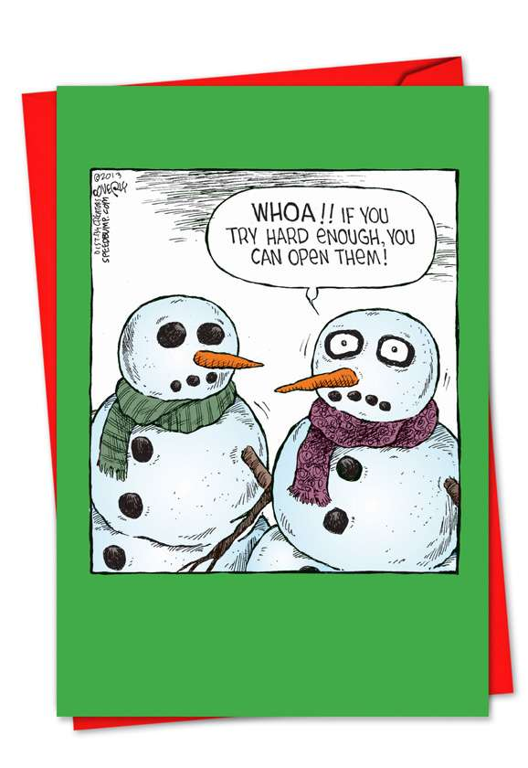 Snowman Open Eyes: Hysterical Christmas Greeting Card