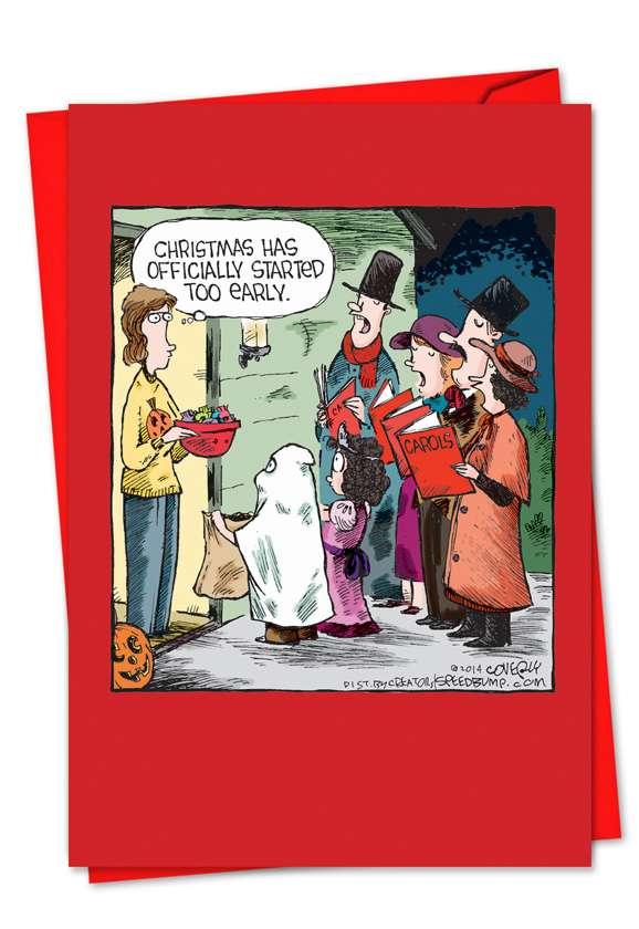 Halloween Carolers: Funny Christmas Printed Card