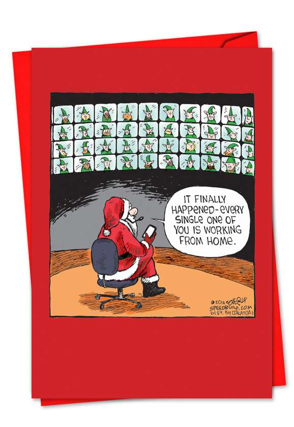 Remote Elves: Hilarious Christmas Paper Greeting Card