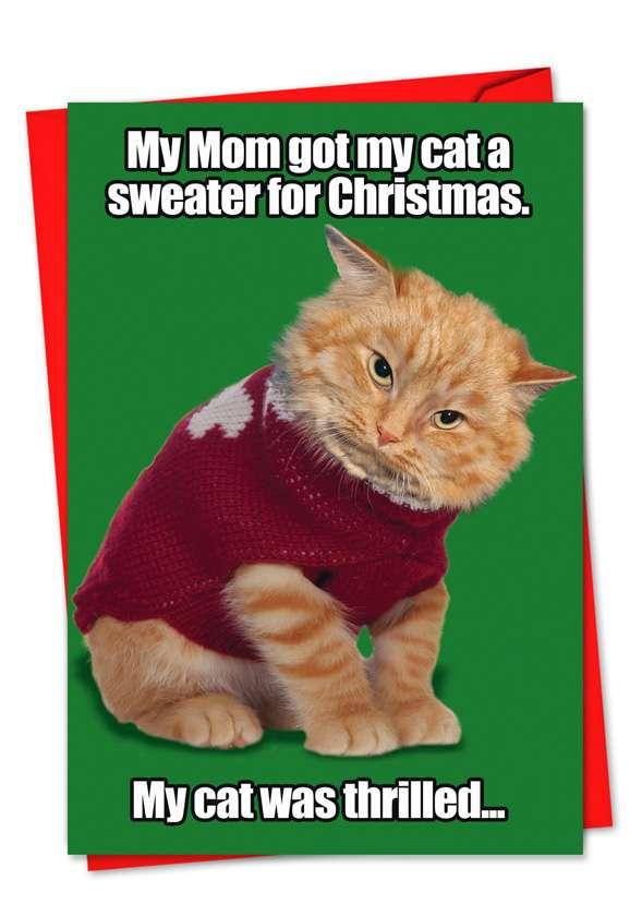 Cat Sweater: Hilarious Christmas Printed Greeting Card
