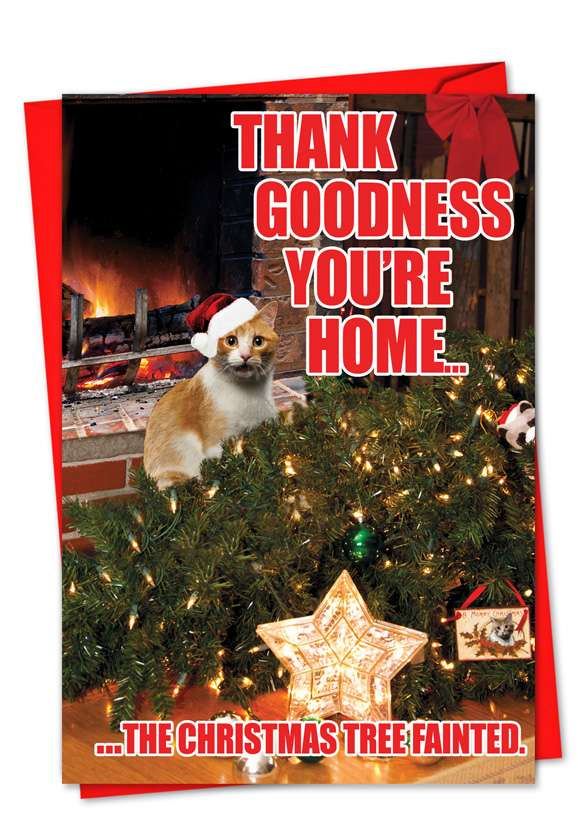 Tree Fainted-Cat: Humorous Christmas Paper Card