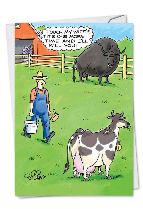 Jealous Bull: Hilarious Birthday Greeting Card