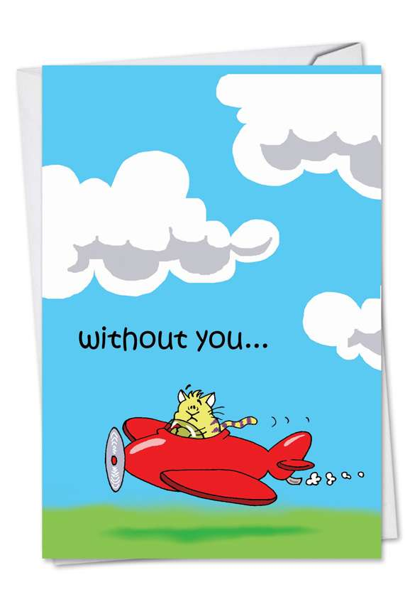 Flying Low: Funny Miss You Printed Card
