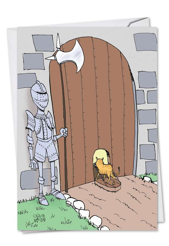 Castle Cat Door: Humorous Birthday Paper Greeting Card