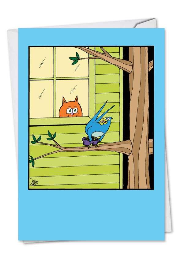 Mooning Bird: Humorous Birthday Paper Card