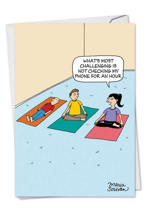 Phoneless Yoga: Funny Birthday Printed Card