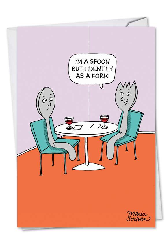 Hilarious Birthday Paper Greeting Card by Maria Scrivan from NobleWorksCards.com - Spork Identity