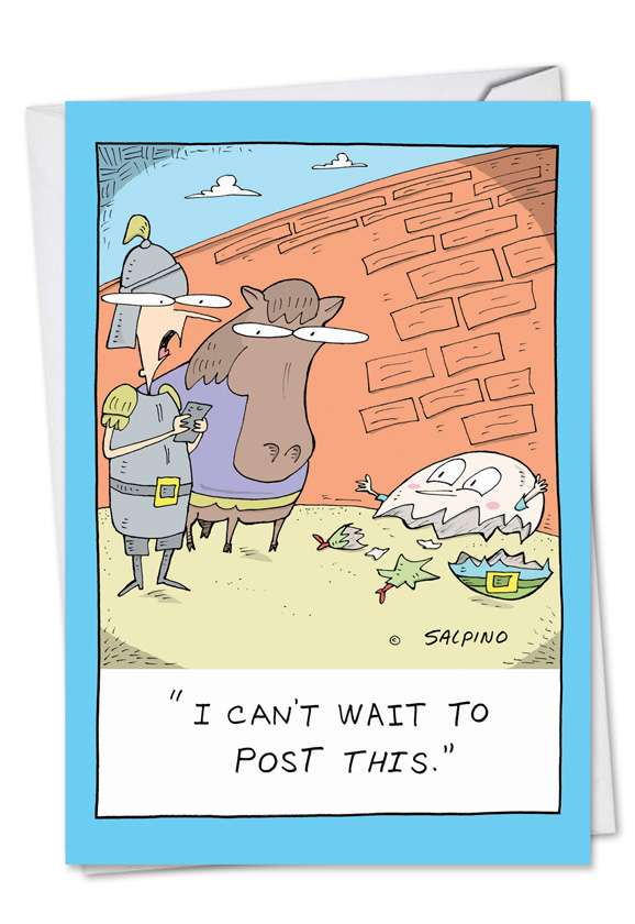 Humorous Birthday Printed Card by Michael Salpino from NobleWorksCards.com - Broken Humpty Post