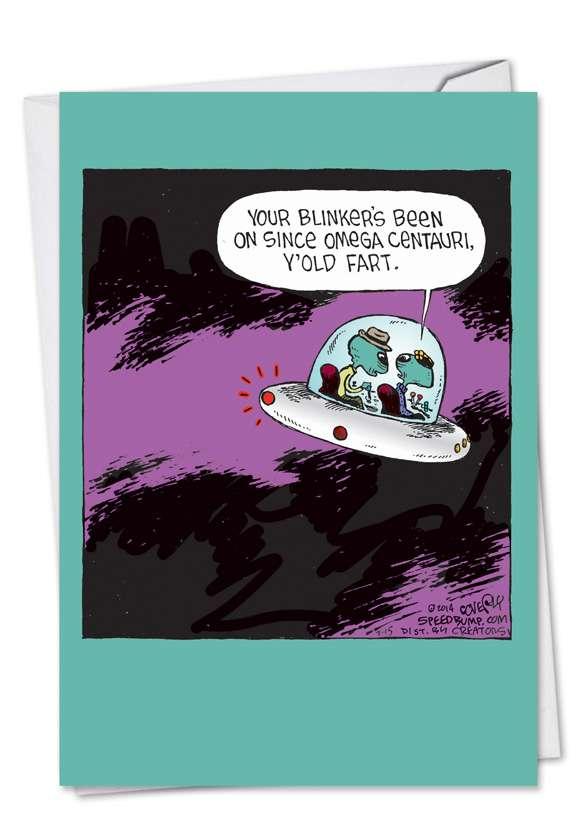 Blinking Spaceship: Humorous Birthday Paper Card