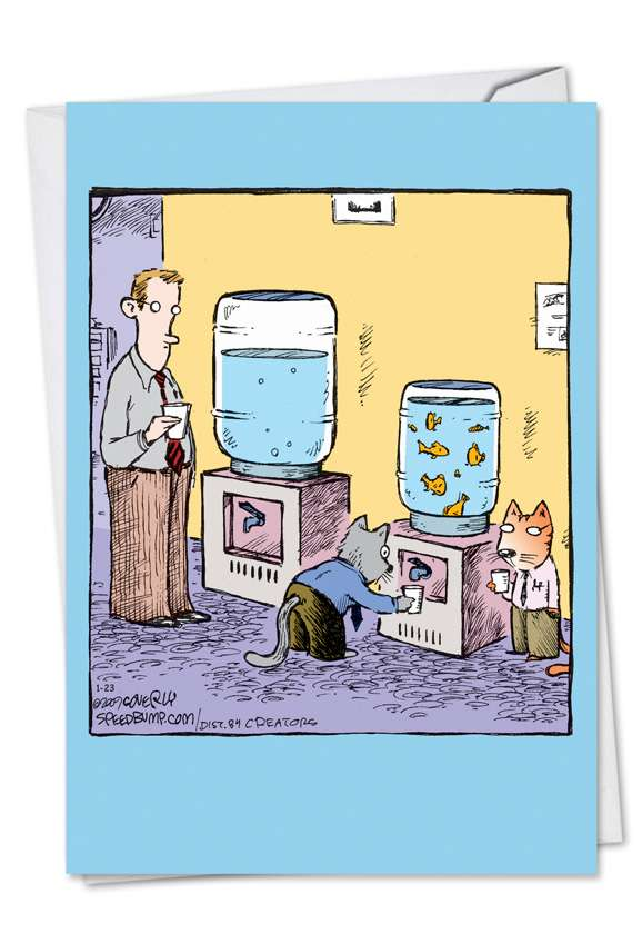 Cat Water Cooler: Funny Birthday Greeting Card