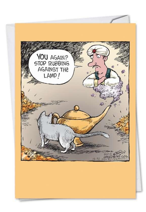 Cat and Genie: Humorous Birthday Greeting Card