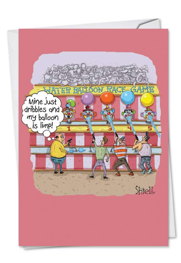 Water Balloon Race: Hilarious Birthday Printed Greeting Card