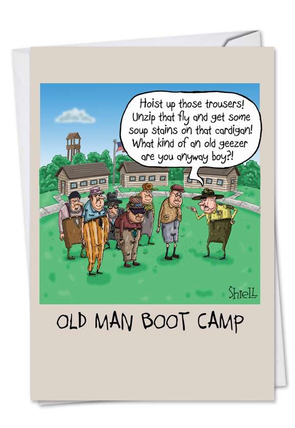 Old Man Boot Camp: Humorous Birthday Paper Card