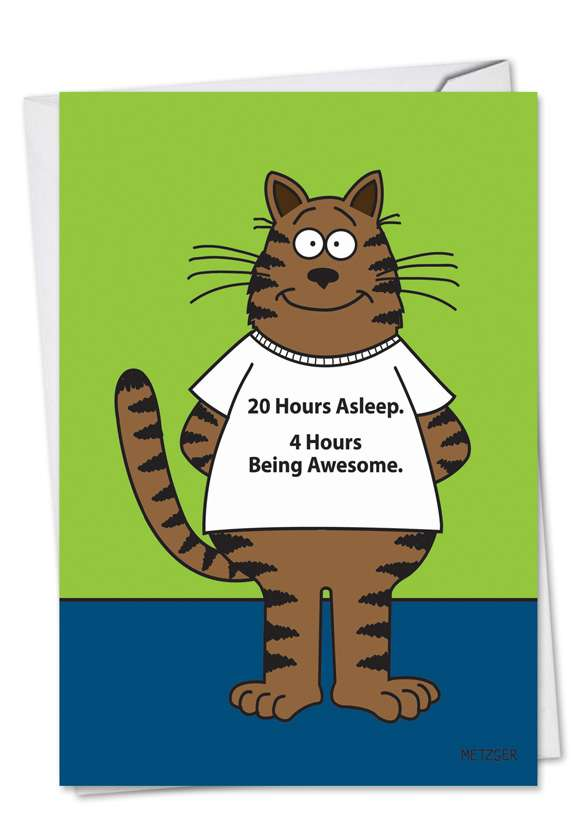 Cat T-shirt: Humorous Birthday Paper Greeting Card