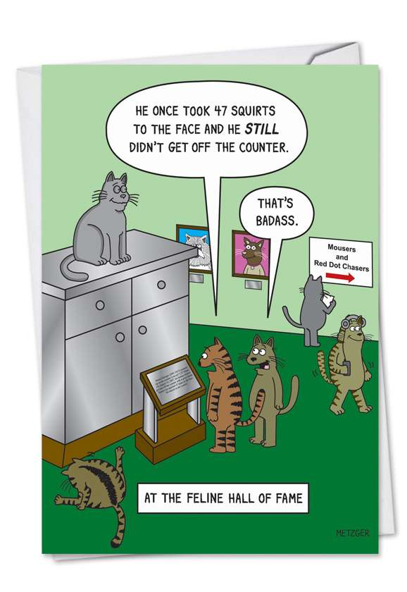 Feline Hall of Fame: Funny Birthday Paper Card
